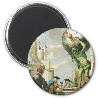 Vintage Baroque Era Atlas Frontispiece World Globe Magnet