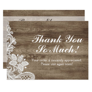 Vintage Baroque Lace On Rustic Barn Wood Thank You Card