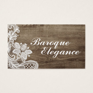 Vintage Baroque Lace On Rustic Elegant Barn Wood Business Card