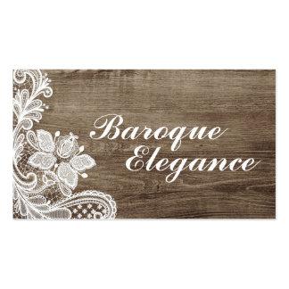 Vintage Baroque Lace On Rustic Elegant Barn Wood Pack Of Standard Business Cards