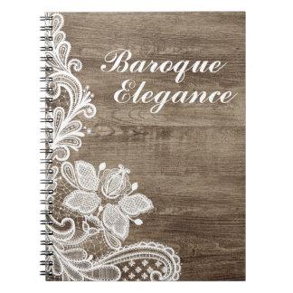 Vintage Baroque Lace On Rustic Elegant Barn Wood Spiral Notebook