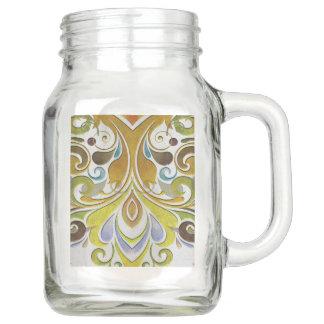 Vintage baroque print on Mason jar with handle
