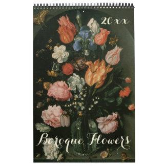 Vintage Baroque Still Life Flowers Art Paintings Calendar