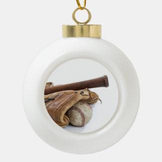 Vintage Baseball and Bat Ceramic Ball Christmas Ornament