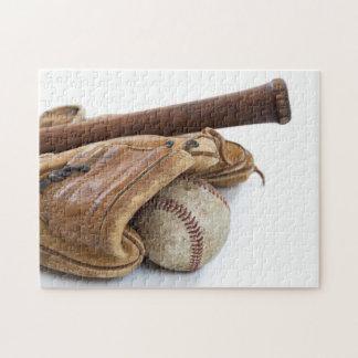 Vintage Baseball and Bat Jigsaw Puzzle