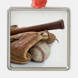 Vintage Baseball and Bat Metal Ornament