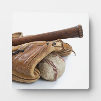 Vintage Baseball and Bat Plaque