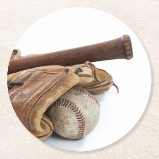 Vintage Baseball and Bat Round Paper Coaster