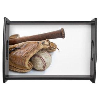 Vintage Baseball and Bat Serving Tray