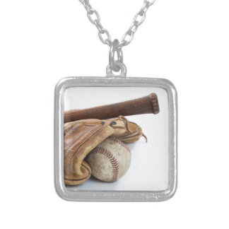 Vintage Baseball and Bat Silver Plated Necklace