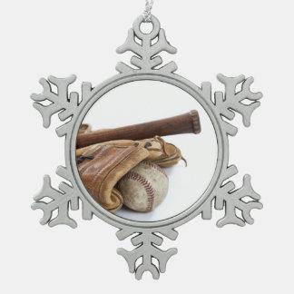 Vintage Baseball and Bat Snowflake Pewter Christmas Ornament