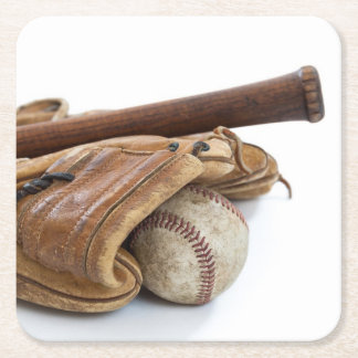 Vintage Baseball and Bat Square Paper Coaster