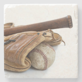 Vintage Baseball and Bat Stone Coaster