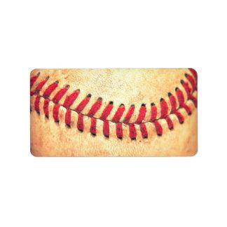 Vintage baseball ball address label