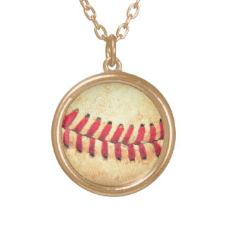 Vintage baseball ball gold plated necklace