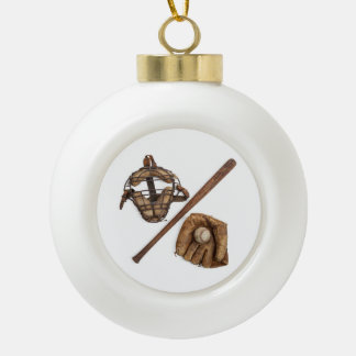 Vintage Baseball Ceramic Ball Christmas Ornament