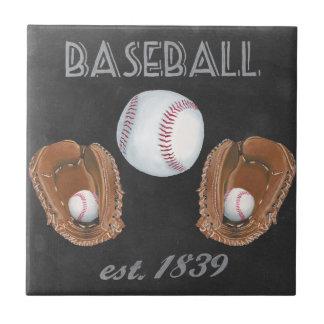 Vintage Baseball Chalkboard Design Ceramic Tile