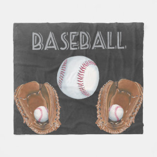 Vintage Baseball Chalkboard Design Fleece Blanket