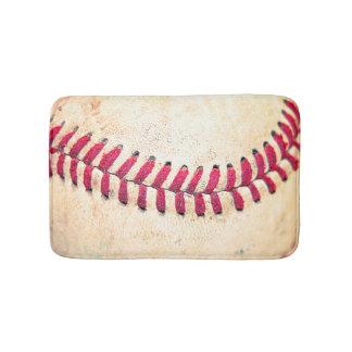 Vintage Baseball Close Up Photo Bath Mat