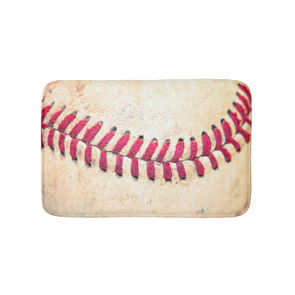Vintage Baseball Close Up Photo Bath Mats