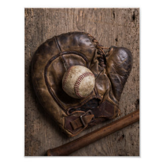 Vintage Baseball Equipment Poster