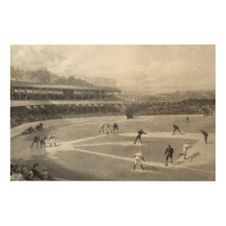 Vintage Baseball Game Wood Wall Art