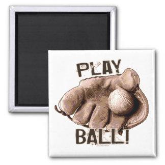 Vintage Baseball Glove Ball from Mudge Studios Square Magnet