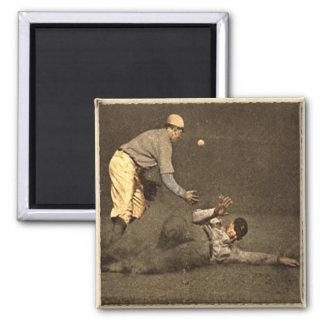 Vintage Baseball Motive Square Magnet