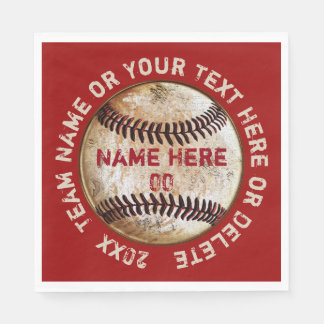 Vintage Baseball Napkins with Your COLORS and TEXT Paper Serviettes