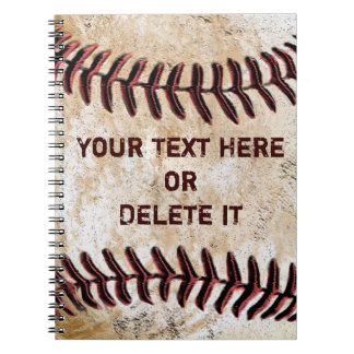 Vintage Baseball Notebooks Personalised YOUR TEXT