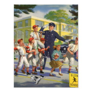 Vintage Baseball Players Crossing Guard Invitation