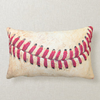 Vintage Baseball Red Stitches Close Up Photo Lumbar Cushion