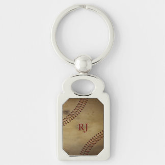 Vintage Baseball Silver-Colored Rectangle Key Ring