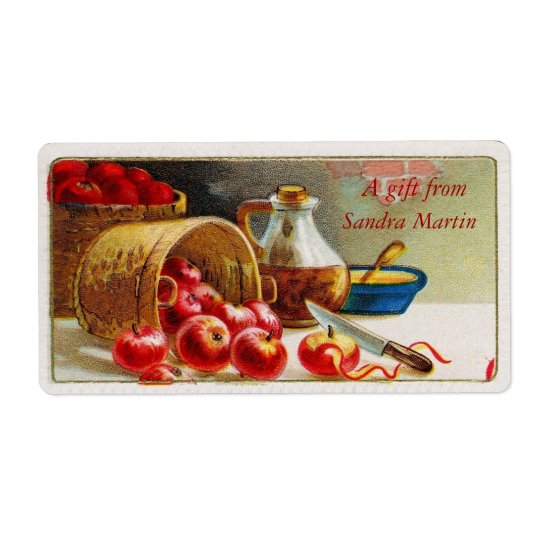 Vintage Basket of Apples Gift Tags Shipping Label