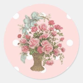 Vintage Basket of Pink Roses Envelope Seal Round Sticker