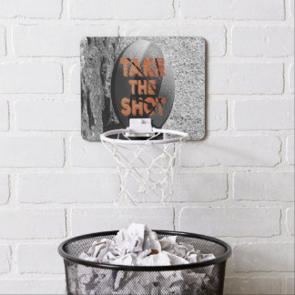 Vintage Basketball Take the Shot Quote Mini Basketball Hoop