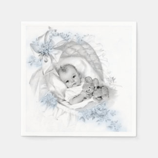 Vintage Bassinet Baby Boy Shower Paper Napkins