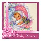 Vintage Bassinet Pink Roses Baby Girl Shower Card