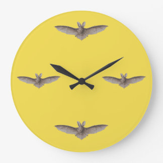 Vintage Bat Time Yellow Harvest Moon Large Clock