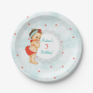 Vintage Bathing Suit Baby Lace Aqua & Red 7 Inch Paper Plate