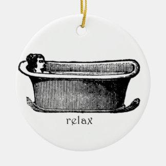 Vintage Bathtub Relax stamp Round Ceramic Decoration