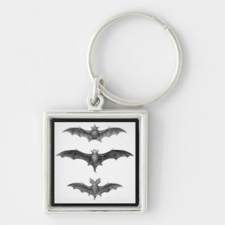 Vintage Bats Gothic Horror Punk Key Ring Silver-Colored Square Key Ring