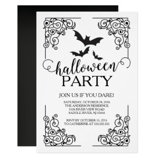 Vintage Bats Halloween Party Invitation