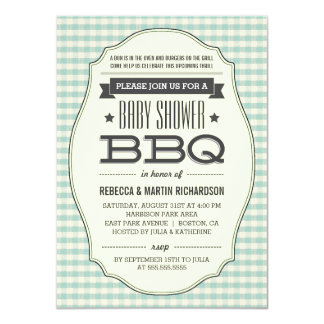Vintage BBQ Boy Baby Shower Invitations