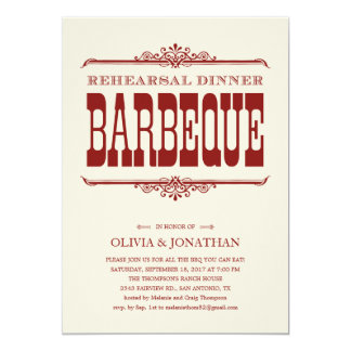 Vintage BBQ Rehearsal Dinner Invitations