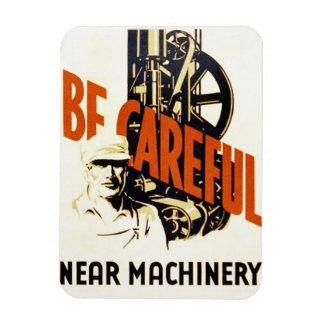 Vintage Be Careful Near Machinery WPA Poster Rectangular Photo Magnet