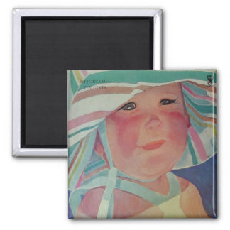 Vintage Beach Baby Square Magnet