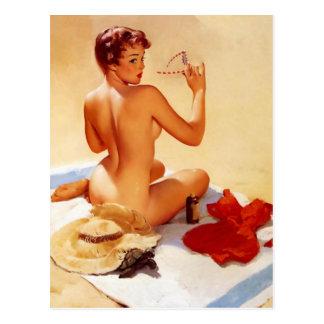 Vintage Beach Beauty Pin Up Girl Postcards