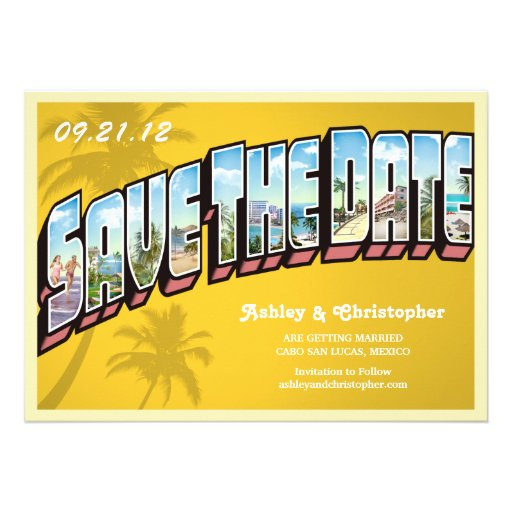 Vintage Beach Destination Save The Date Postcard Personalized Announcements