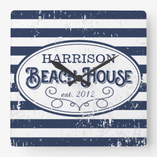 Vintage Beach House Personalized Navy and White Square Wall Clock